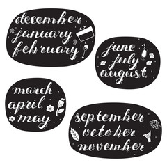 Hand-drawn Calendar Set. Set of Months of the Year.