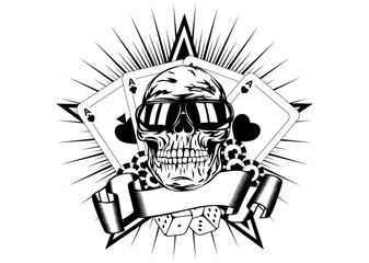 skull in sunglasses playing cards dice chips