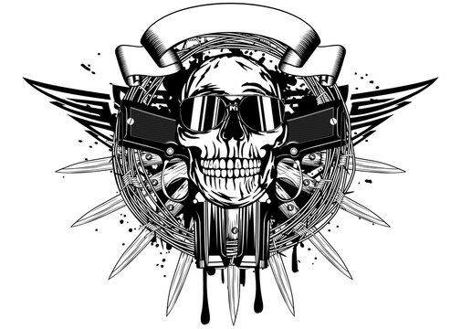 skull in sunglasses and two pistols
