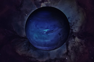 Solar System - Neptune. It is the eighth and farthest planet from the Sun. Elements of this image are furnished by NASA