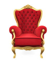 Red Throne Chair Isolated