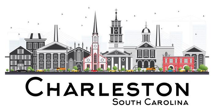 Charleston South Carolina Skyline with Gray Buildings Isolated on White Background.