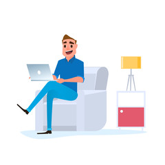 Freelancer work at home concept. Man working at home with laptop on sofa.