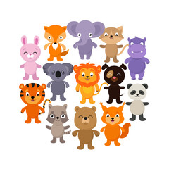 Forest, savana and jungle baby animals. Cartoon vector character set
