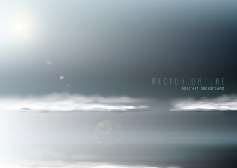 Vector abstract background with restless seascape in gray tones