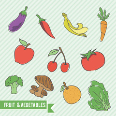 fruit and vegetables doodle logo / icon bundle