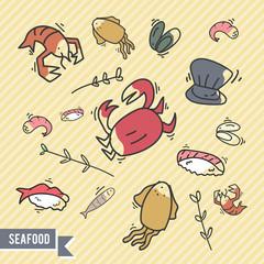 Sea food doodle logo / icon bundle