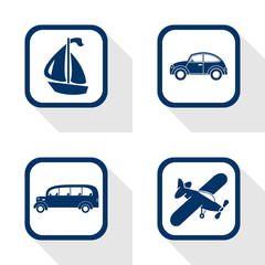 flat design icons travel set - car, bus, boat, airplane