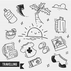 Travelling doodle logo / icon bundle