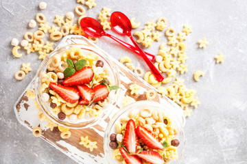 Healthy cold cereal with berry
