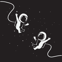Two funny little astronauts fly together
