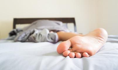 Close-up woman foot.