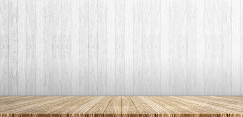 Wood plank table top at white painted wooden wall background,Mock up for display or montage of product,Banner or header for advertise on social media