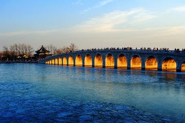 The summer palace and seventeen arch bridge scenery in Beijing,China.