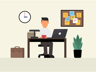 Freelancer man working at office desk. Home workplace. Flat style vector illustration.