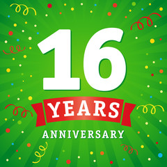 16 years anniversary logo celebration card. 16th years anniversary vector background with red ribbon and colored confetti on green flash radial lines