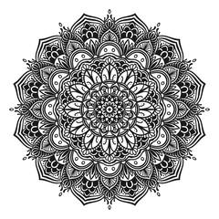 Black mandala decorative lace ornament.