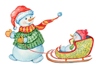 snowman, watercolor, Christmas,