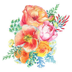 Bouquet with blooming flowers and leaves in vintage style. Watercolor painting illustration isolated on white background. Composition for holiday - Mother's Day, wedding, birthday, Easter.