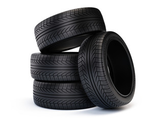 Stack of new car tires. Tires isolated on white background - 3d render