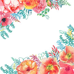 Border, poster with blooming flowers and leaves in vintage style. Watercolor painting illustration isolated on white background. Composition for holiday - Mother's Day, wedding, birthday, Easter.