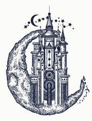 Medieval castle on the moon tattoo. Symbol of the fairy tale, dream, magic. Medieval castle t-shirt design