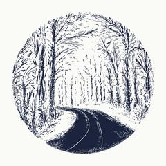 Snowy winter road tattoo. Symbol of harmony, tranquility, beautiful winter landscape, romantic print t-shirt design. Empty snow covered road tattoo