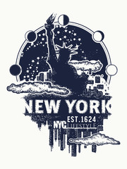 New York tattoo and t-shirt design. New York city skyline cityscape art poster