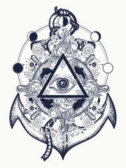 All seeing eye tattoo art vector. Freemason and spiritual symbols. Alchemy, medieval religion, occultism, esoteric tattoo. Magic eye, steering wheel and anchor t-shirt design