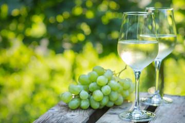 Weißwein und Trauben im Garten