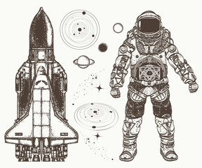 Space hand drawn collection. Astronaut, spaceship, solar system, planets.Astronaut and space shuttle tattoo and t-shirt design