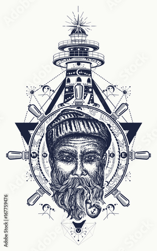 650c94f1a Old sailor, anchor, steering wheel, compass, lighthouse, tattoo art. Symbol