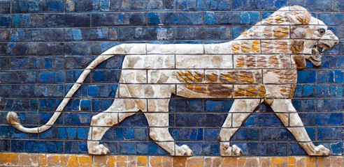 Ancient glazed brick panel with Lion - detail of Babylonian Ischtar Tor, or Ishtar Gate