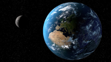View of the planet Earth with moon from space. 3D rendering elements of this image furnished by NASA