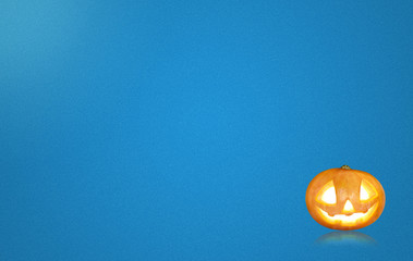 Halloween concept, blue background greeting card