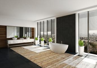 Moderne freistehende Badewanne in Luxus Badezimmer mit Holzboden