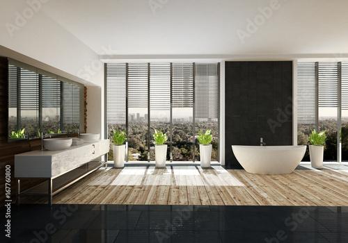 Moderne freistehende Badewanne in Designer Badezimmer mit Holzboden ...