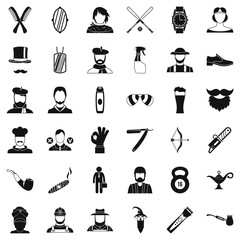 Hipster man icons set, simple style