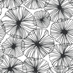 Decorative abstract floral pattern. Vector linear texture. Seamless graphic background
