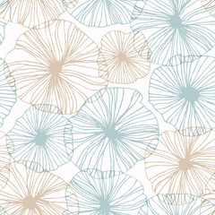 Decorative abstract floral pattern. Vector linear texture. Seamless background