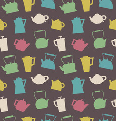 Pattern with different teapots. Kettles background. Seamless kitchen vector texture