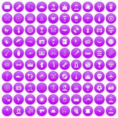 100 photo icons set purple