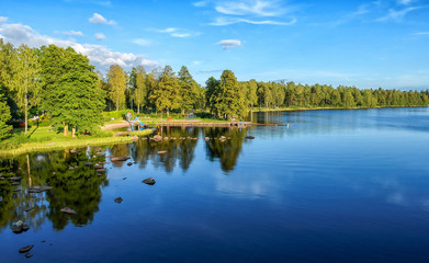 Summer Swedish lake with reflection - aerial view