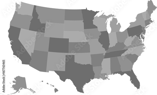 Map of the United States of America split into individual states ...
