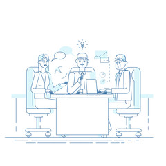 Business meeting. Presentation of the project. Professionals speaks before his colleagues. Vector illustration of a flat design