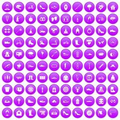 100 shoe icons set purple