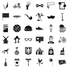 Bike icons set, simple style