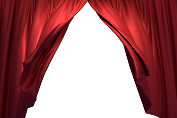3D realistic illustration of the red stage curtains waving with the wind