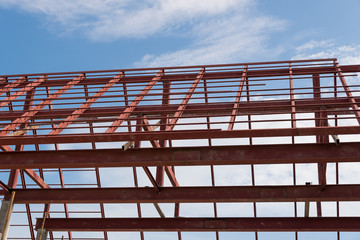 Steel roof frame of building.