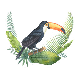 Watercolor bouquet of tropical leaves and toucan isolated on white background.